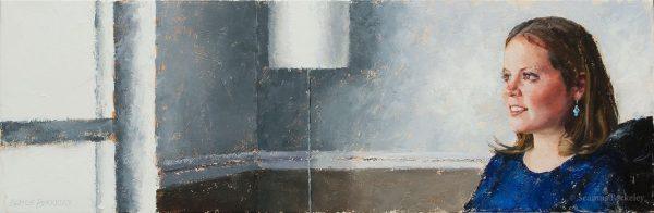 "Portrait of Karen Banks, 13"" x 40"", Oil on canvas"
